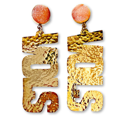 "Tennessee Gold ""VOLS"" Earrings with Orange Druzy"
