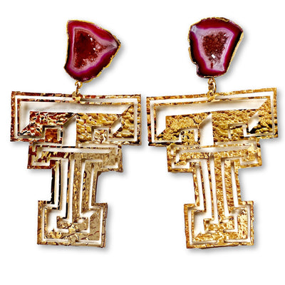 Texas Tech Gold Logo Earrings with Red Geode