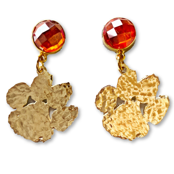 Mini Gold Clemson Paw Earrings with Mandarin Garnet Gemstones