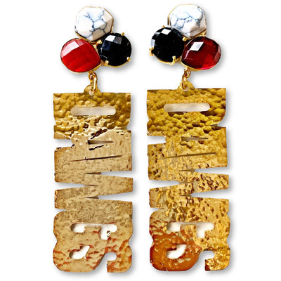 "Georgia Gold ""DAWGS"" Earrings with 3 Gemstones"