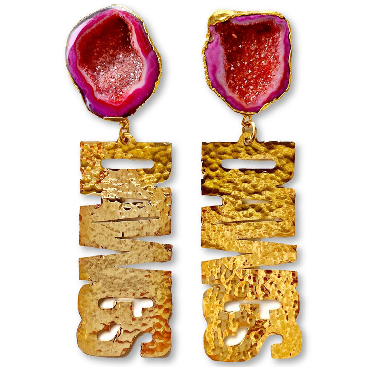 "Georgia Gold ""DAWGS"" Earrings with Red Geode"