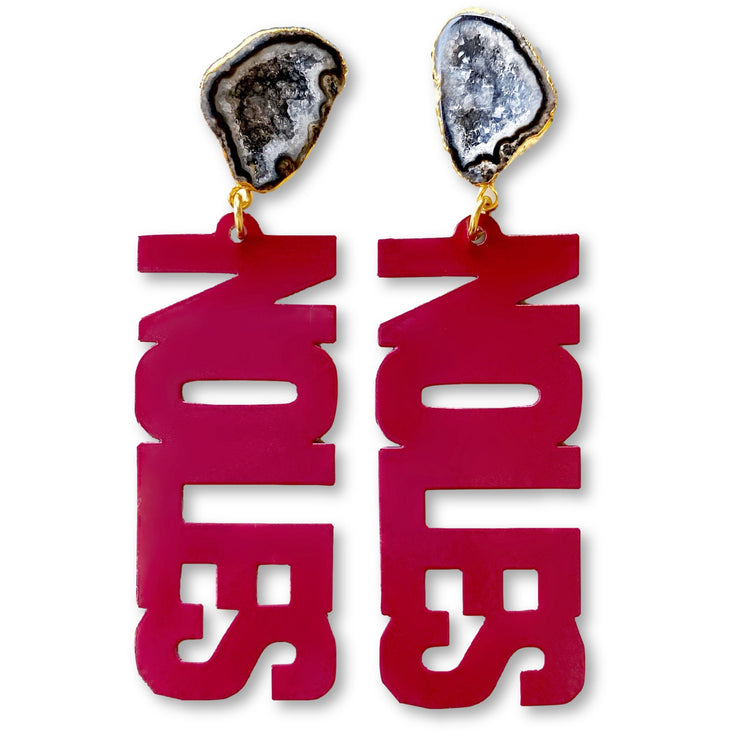 FSU Garnet NOLES Earrings with Black Geode