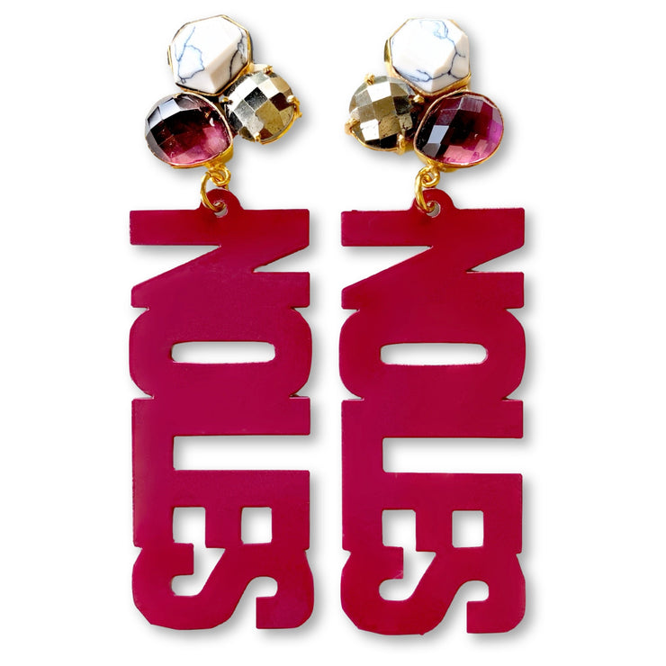 FSU Garnet NOLES Earrings with 3 Gemstones