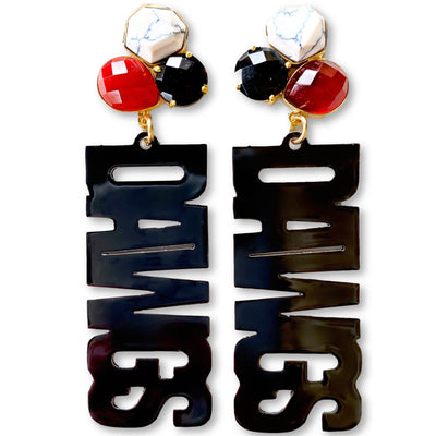 "Georgia Black ""DAWGS"" Earrings with 3 Gemstones"