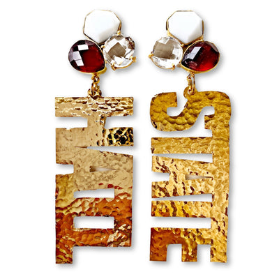 Mississippi State Gold HAIL STATE Earrings with 3 Gemstones