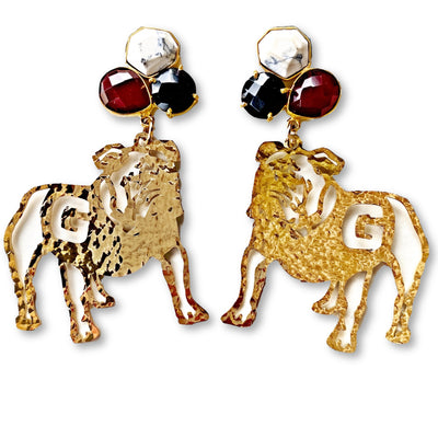 Georgia Gold Bulldog Earrings with 3 Gemstones