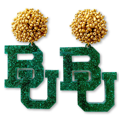 Baylor Green Glitter Acrylic BU with Gold Beaded Top