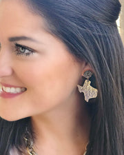 Texas Proud Gold Small Shape of Texas Earrings with Silver Druzy