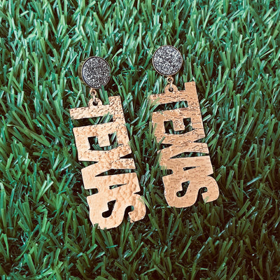 "Texas Proud Gold ""Texas"" Earrings with Silver Druzy"