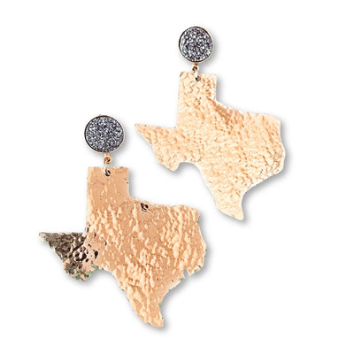Texas Proud Gold Shape of Texas Earrings with Silver Druzy