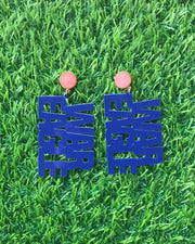 "Auburn Navy Blue ""WAR EAGLE"" Earrings with Orange Druzy"