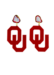 OU Crimson Logo Earrings with White Geode