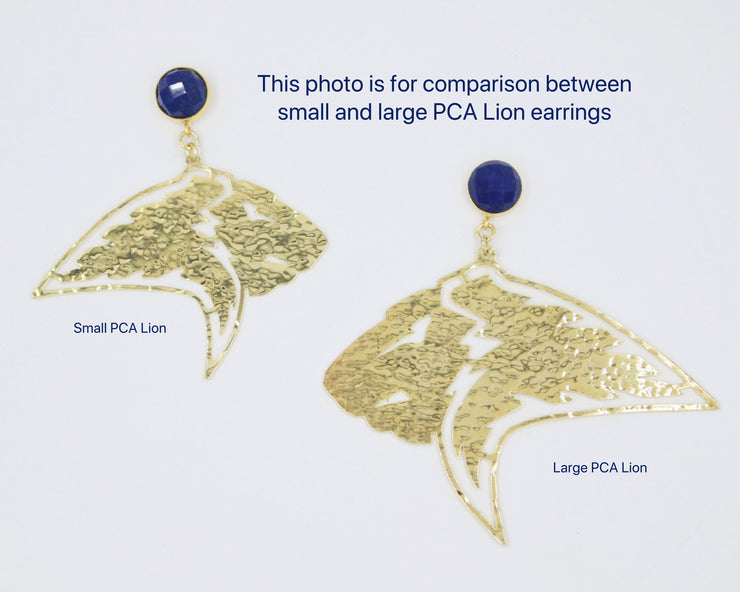 Large PCA Lion Earring in Gold with Lapis