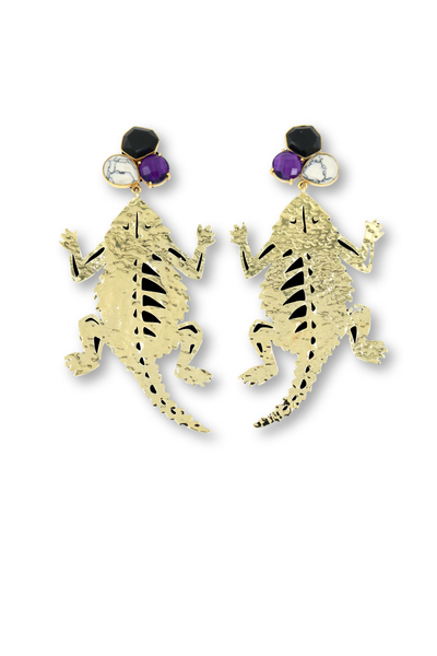 TCU Gold Horned Frog Earrings with 3 Gemstones