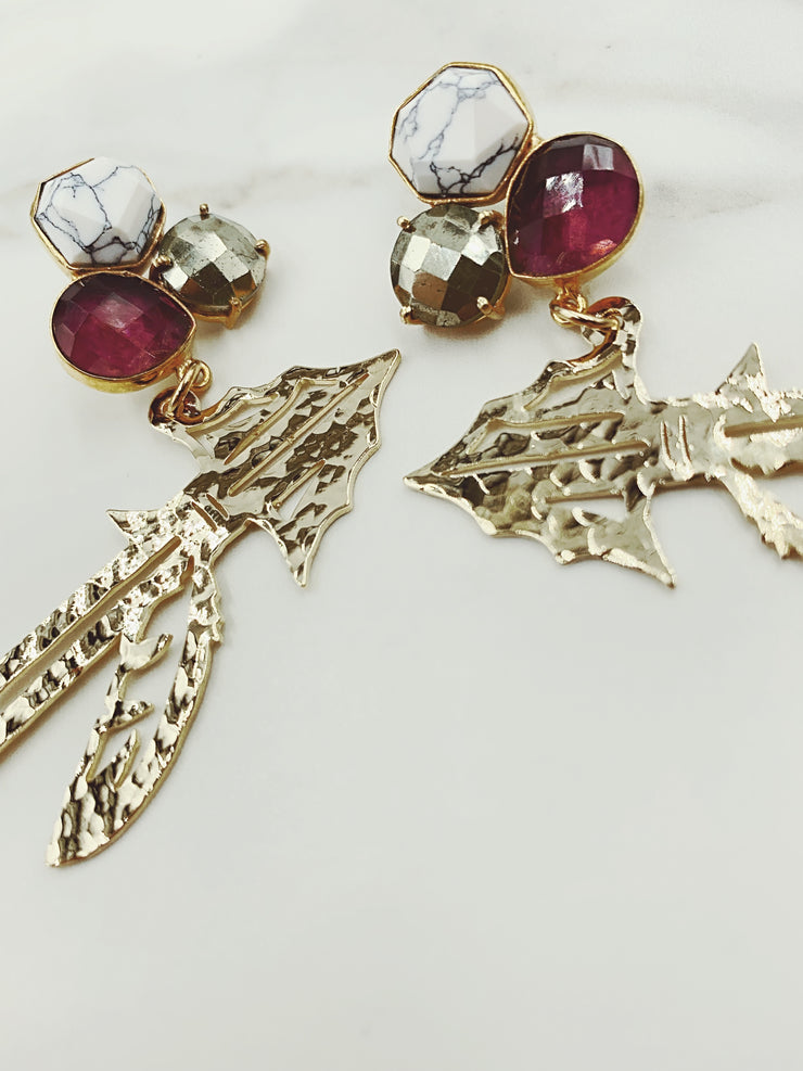 FSU Gold Spear Earrings with 3 Gemstones