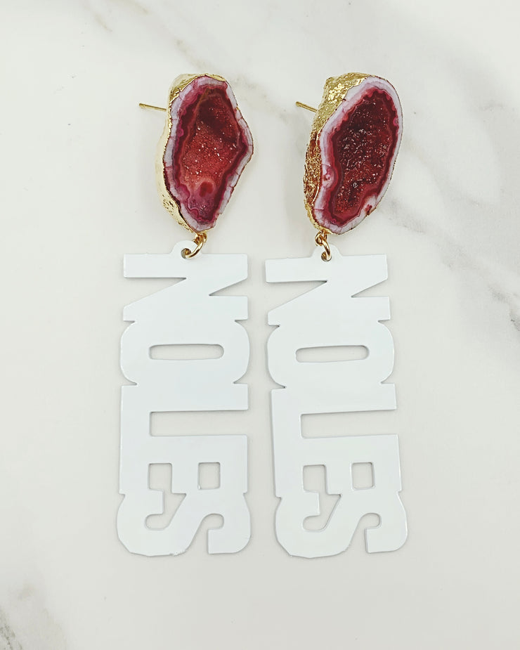 FSU White NOLES Earrings with Geode