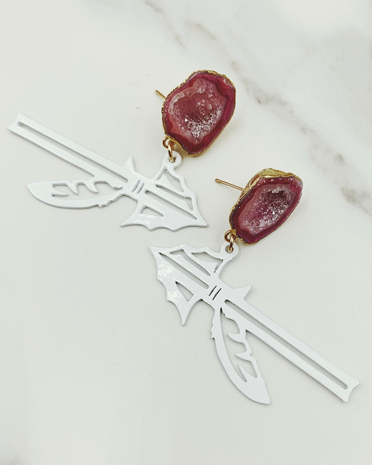 FSU White Spear Earrings with Geode