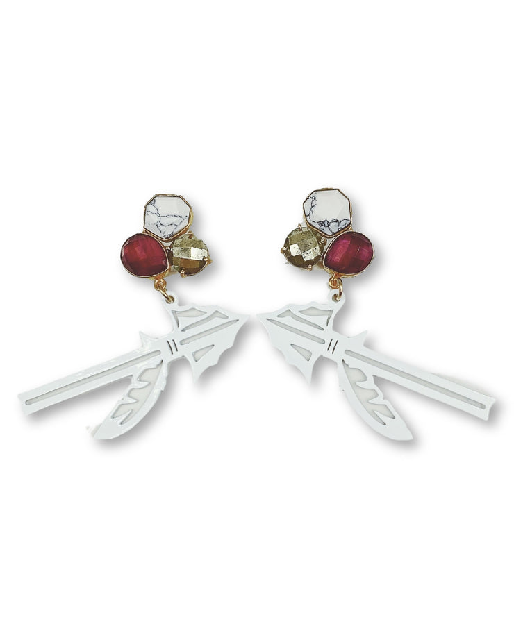 FSU White Spear Earrings with 3 Gemstones