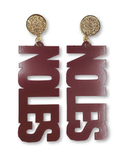 FSU Garnet NOLES Earrings with Gold Druzy
