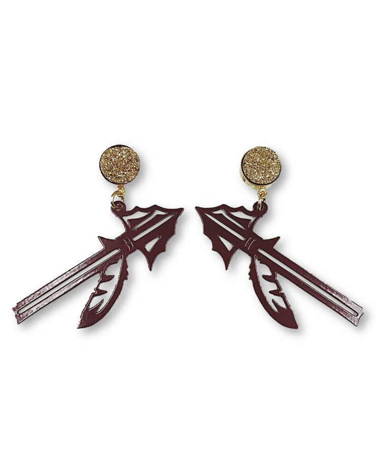 FSU Garnet Spear Earrings with Gold Druzy