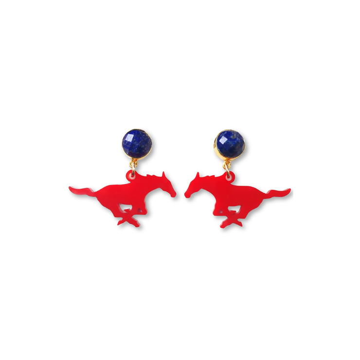 Mini SMU Red Acrylic Mustang with Lapis Gemstones