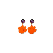 Mini Clemson Orange Acrylic Paw with Amethyst Gemstone