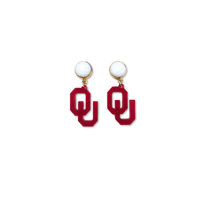 Mini Oklahoma Crimson Acrylic OU with White Agate Gemstones