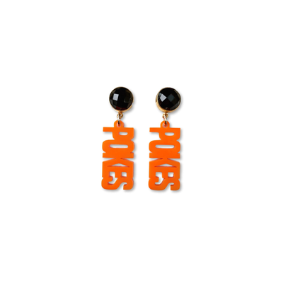 "Mini OSU Orange Acrylic ""Pokes"" with Black Onyx Gemstones"
