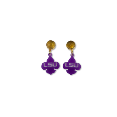 Mini LSU Purple Acrylic Fleur de Lis with Citrine Gemstones