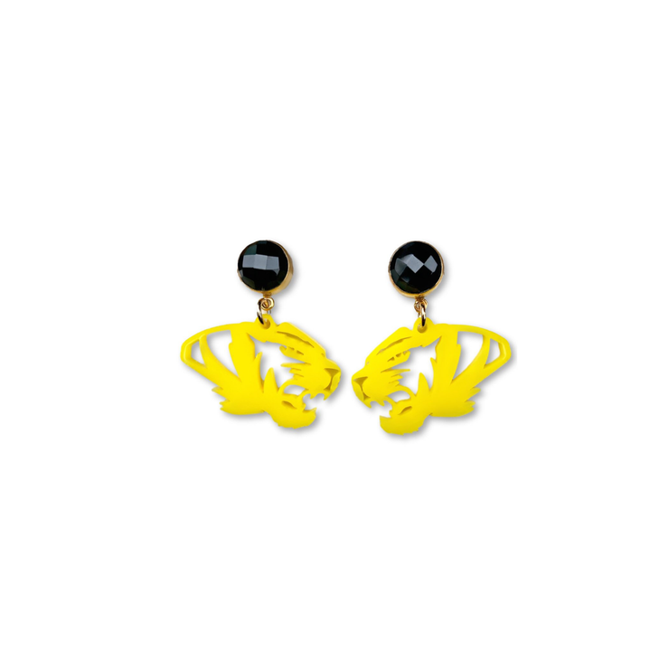 Mini Mizzou Yellow Acrylic Tiger Earrings with Black Onyx Gemstones