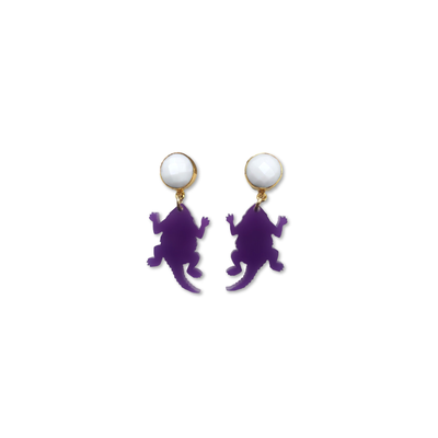 Mini TCU Purple Acrylic Horned Frog with White Agate Gemstones