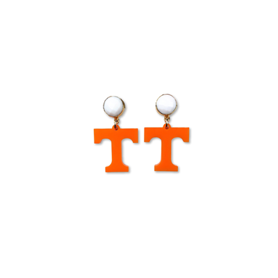 Mini Tennessee Orange Acrylic Power T Earrings with White Agate Gemstones