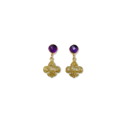 Mini LSU Gold Glitter Acrylic Fleur de Lis with Amethyst Gemstones