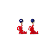 Mini Ole Miss Acrylic Red Script Earrings with Lapis Lazuli Gemstone