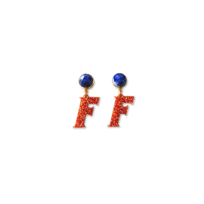 Mini Florida Gators Block F in Orange Glitter Acrylic with Lapis Gemstones