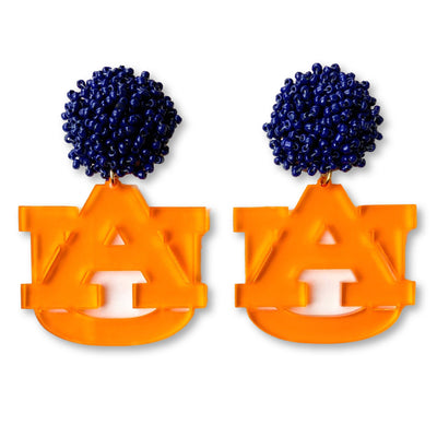 Auburn Orange Translucent Acrylic AU with Navy Blue Beaded Top