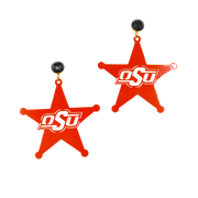 OSU Orange Logo Star Earrings with Black Onyx