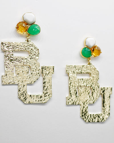 Baylor Gold Logo Earrings with 3 Gemstones