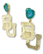 Baylor Gold Logo Earrings with Green Geode