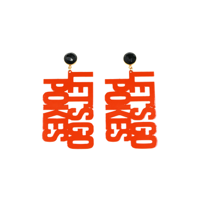 "OSU Orange ""LET'S GO POKES"" Earrings with Black Onyx"