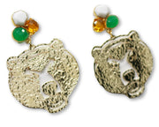 Baylor Gold Bear Earrings with 3 Gemstones