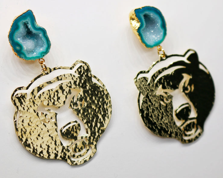 Baylor Gold Bear Earrings with Green Geode