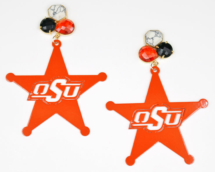 OSU Orange Sheriff Star Earrings with 3 Gemstones