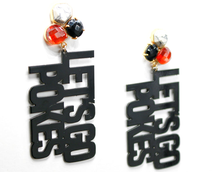 OSU Black LET'S GO POKES Earrings with 3 Gemstones