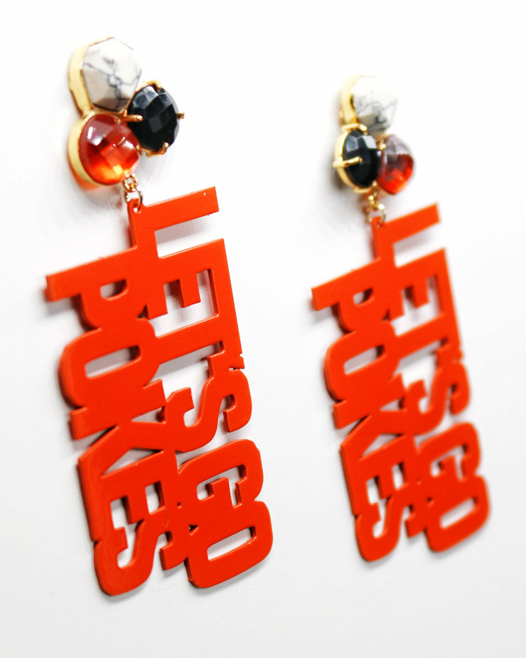 OSU Orange LET'S GO POKES Earrings with 3 Gemstones
