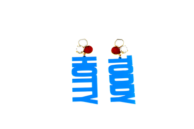 Ole Miss Powder Blue HOTTY TODDY Earrings with 3 Gemstones