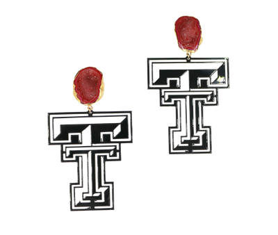 Texas Tech Black Logo Earrings with Red Geode