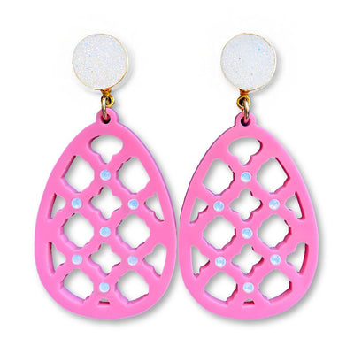 Easter Party - Pink Egg Earrings with Opal Swarovski Crystals