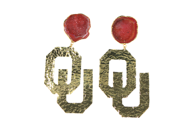OU Gold Logo Earrings with Red Geode