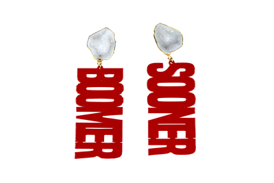 "OU Crimson ""BOOMER SOONER"" Earrings with White Geode"